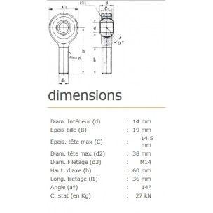 ROTULE MALE 14 mm A DROITE RM14SS