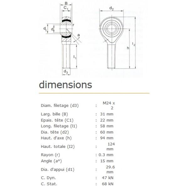 ROTULE MALE 25 mm A GAUCHE RM25L