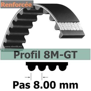 Courroie Crantée 8M-GT3-720/28 mm Renforcée